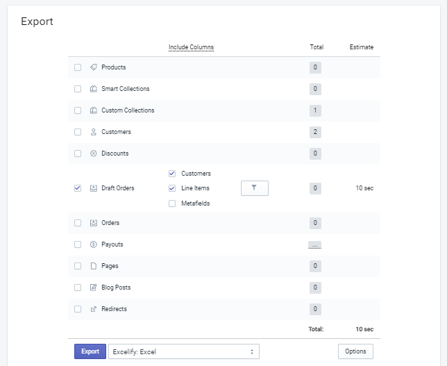 Export Shopify Draft Orders