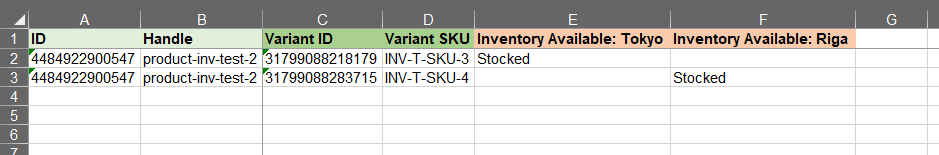 1 - bulk stock products in Shopify multi location inventory Excelify Excel CSV sheet