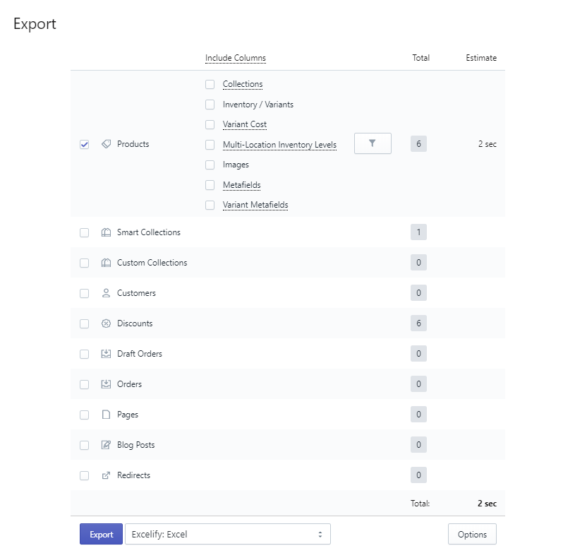 Export Products in Shopify