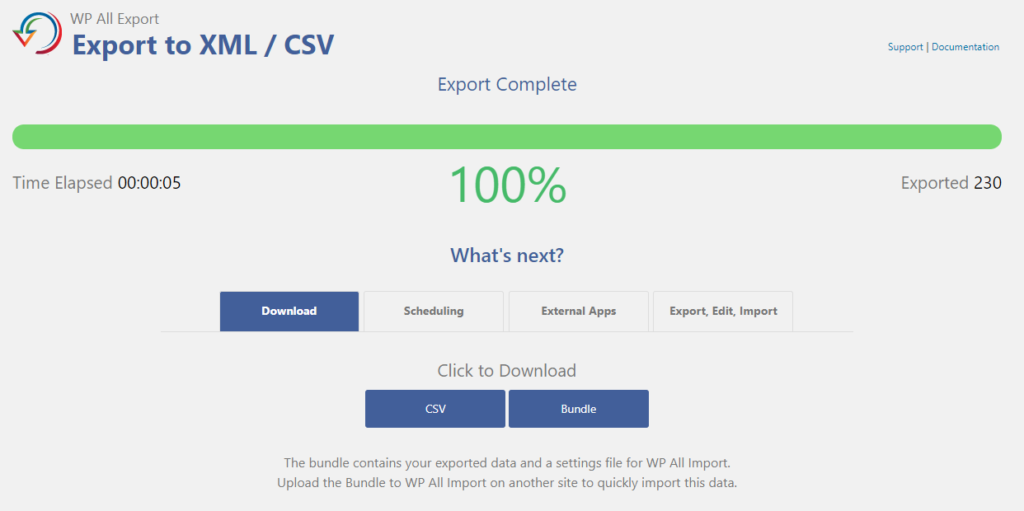 1.5 - download all exported exported wordpress blog posts csv