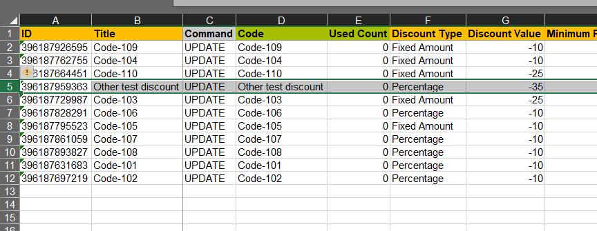 2 - Edit specific Shopify discounts in bulk