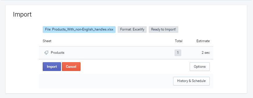 Import file into Shopify Excelify