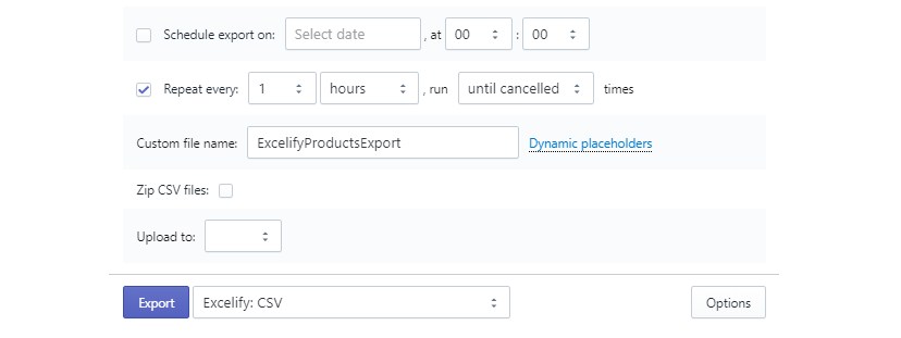 Shopify scheduled export