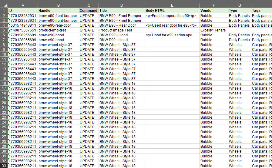 2 - Update only specific Shopify Product fields in bulk with Excel
