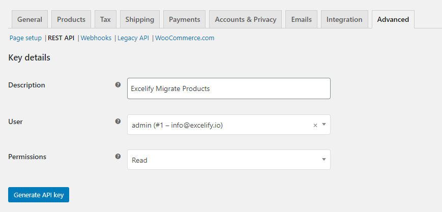 2 - create WooCommerce REST API Credentials migrate Products to Shopify Excelify