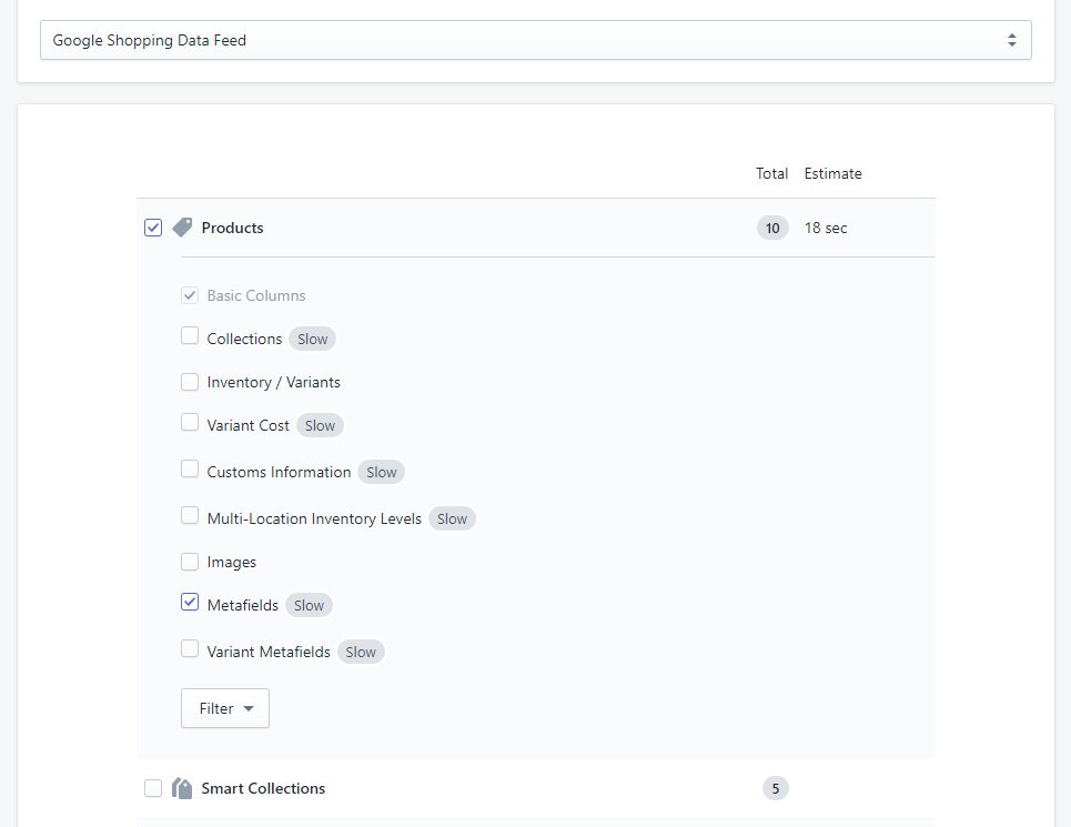 2 - export Shopify data to Google Shopping Data Feed with Matrixify