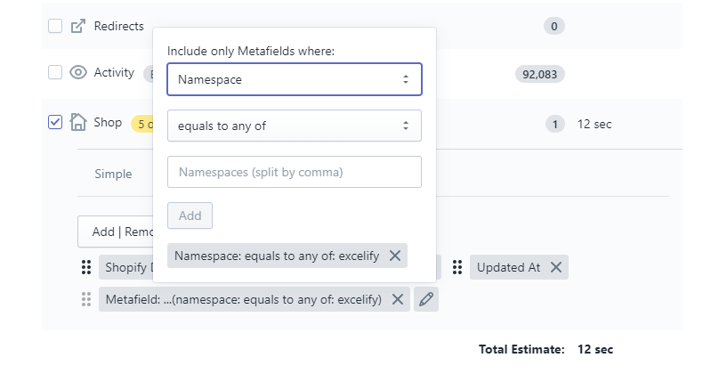 2 - select to export specific Metafields Shopify bulk sheet Excel CSV excelify