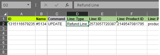 2.3 - Specify update columns Shopify Order export bulk edit excel csv Refund import