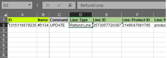 2.3 - Specify update columns Shopify Order export bulk edit excel csv Refund import