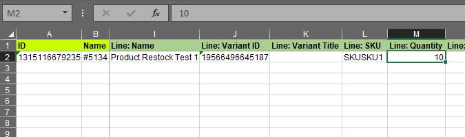 2.4 - Specify update columns Shopify Order export bulk edit excel csv Refund quantity b4