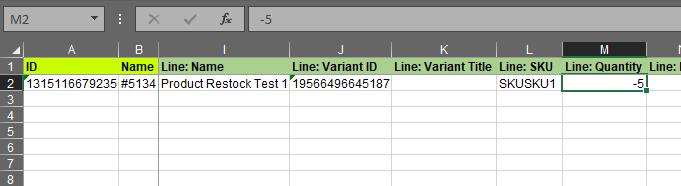 2.5 - Specify update columns Shopify Order export bulk edit excel csv Refund quantity aftr