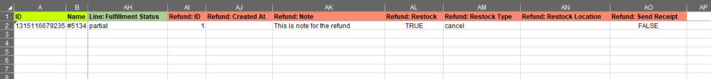 2.6 - Specify update columns Shopify Order export bulk edit excel csv Refund in bulk Restock