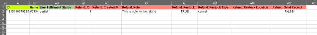 2.6 - Specify update columns Shopify Order export bulk edit excel csv Refund in bulk Restock