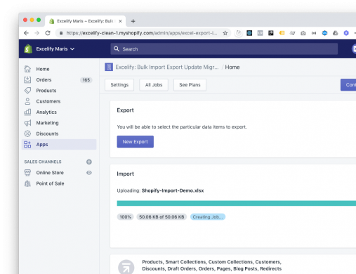 Excelify New UI|Excelify Home - upper menu|Home - Import Export action calls|Home - last job info|Home - help|Home - whats up|new Export|New Import|All Jobs page|See Plans
