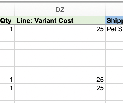 Export Product Cost with Shopify Orders
