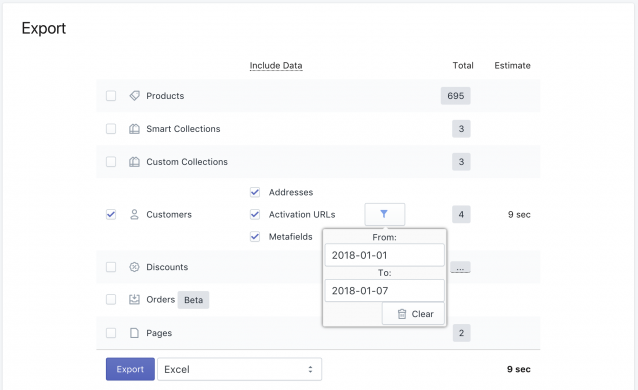 Filter export by Customer registration date