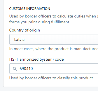 Import Shopify HS Codes in bulk|||||4.2 - Update Shopify Product HS Codes|5 - import excel file with HS codes into Shopify|6 - Imported Shopfify HS Code|3 - Shopify exported HS Product Code