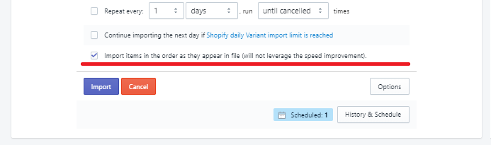 Option to improt product in correct order