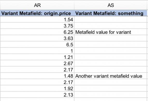 Shopify variant metafields