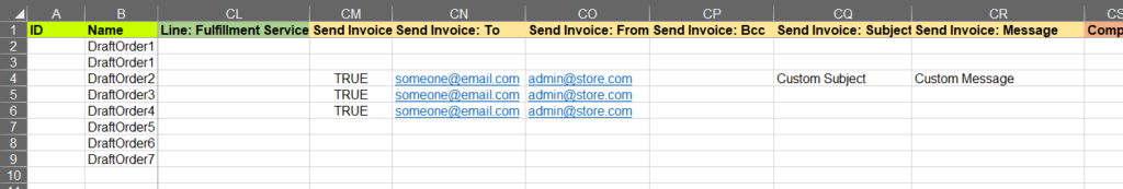 Send Shopify Draft Order invoice in bulk