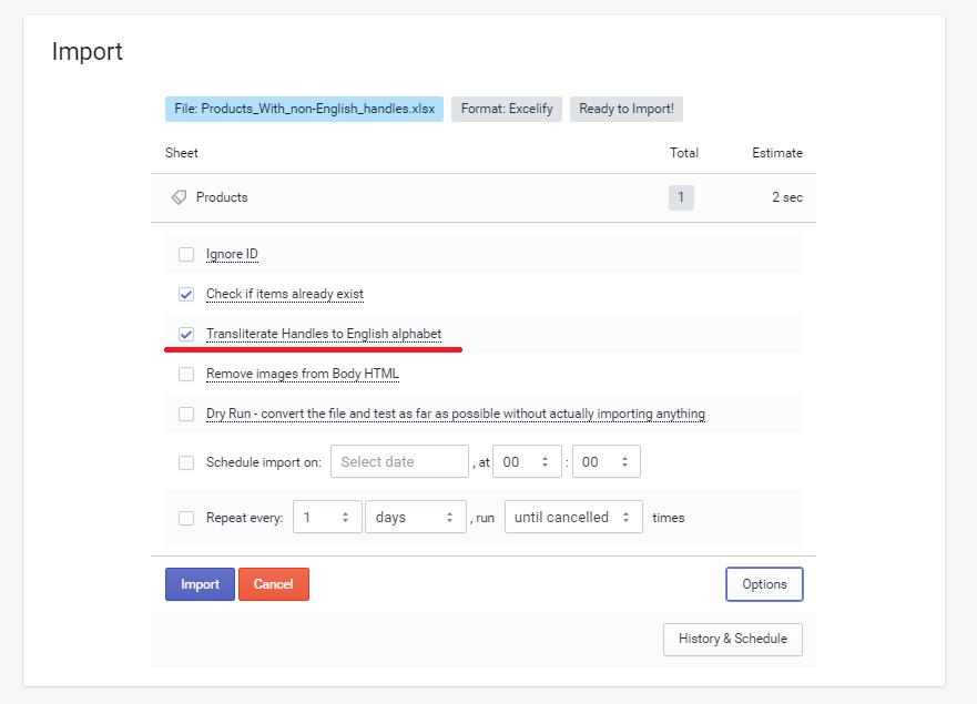 Shopify import Transliterate Handle to English alphabet