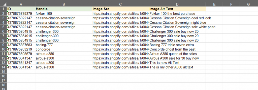 4 - Shopify import excelify excel csv update only image product edit only alt text