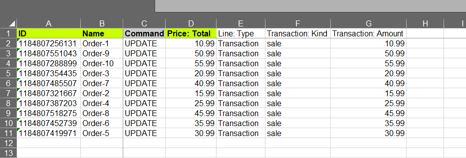pdate Shopify Orders exported info