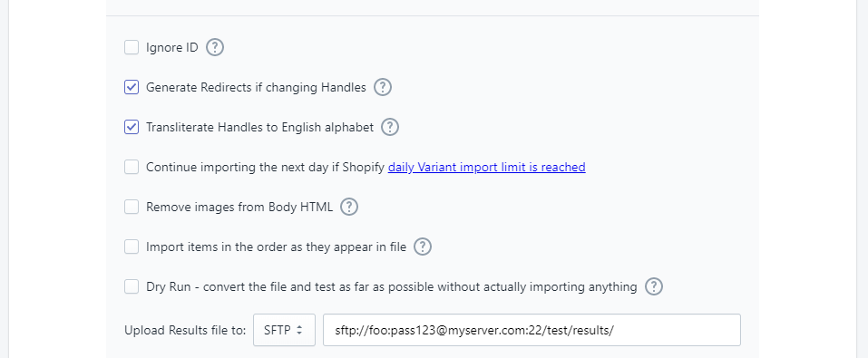 4 - upload improt results file to sftp server automatically import bulk Shopify csv excel server Excelify
