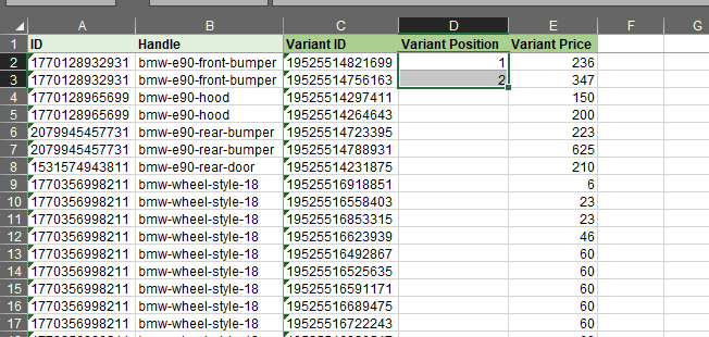4.2 - Update Shopify Product Variant positions in bulk