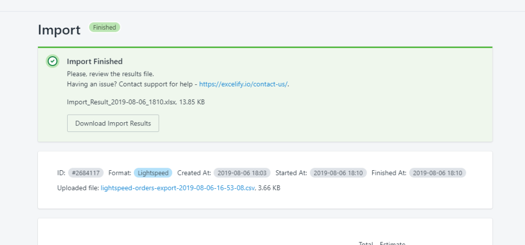 5 - Download Excelify Import Resutls file finished job lightspeed