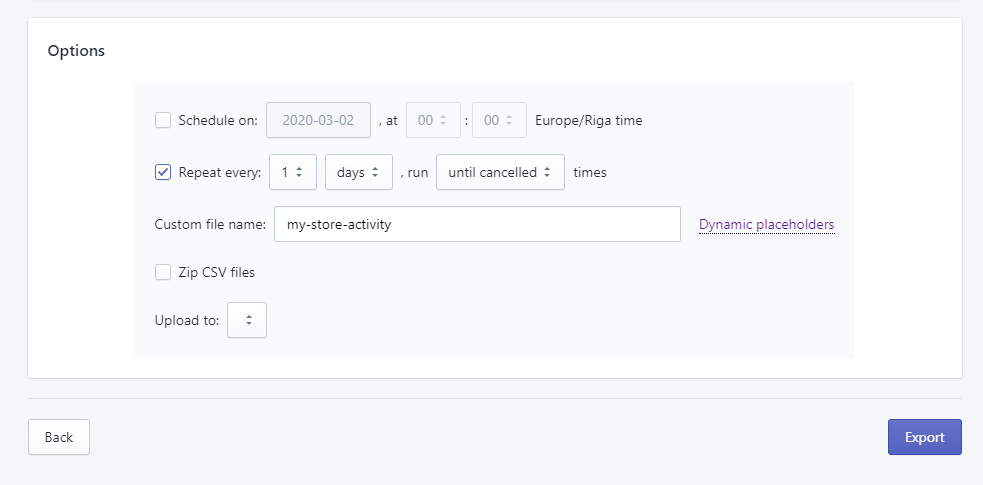 5 - apply export options repeated scheduled shopify events activity excel excelify