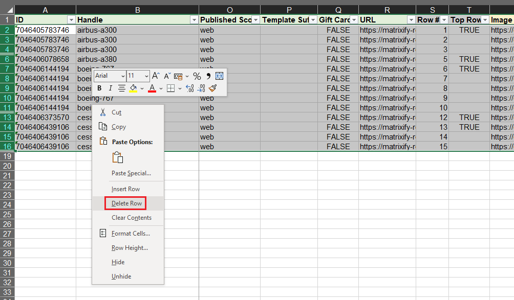 5 - export and delete hide Shopify products without images Matrixify Excel XLSX CSv