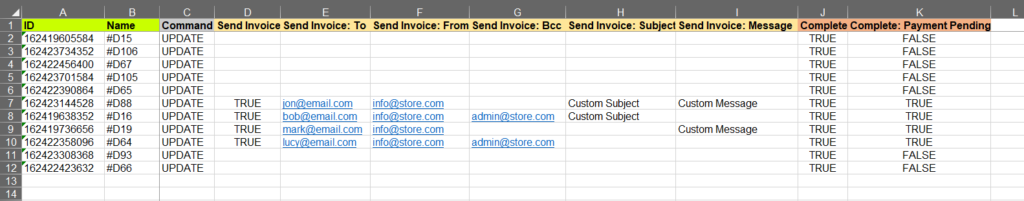 5 - fill send invoice columns