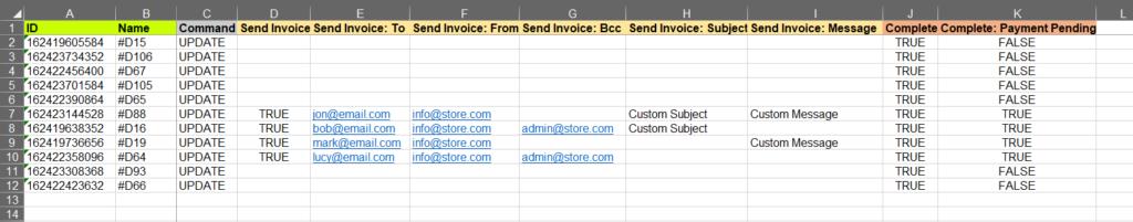 5 - fill send invoice columns