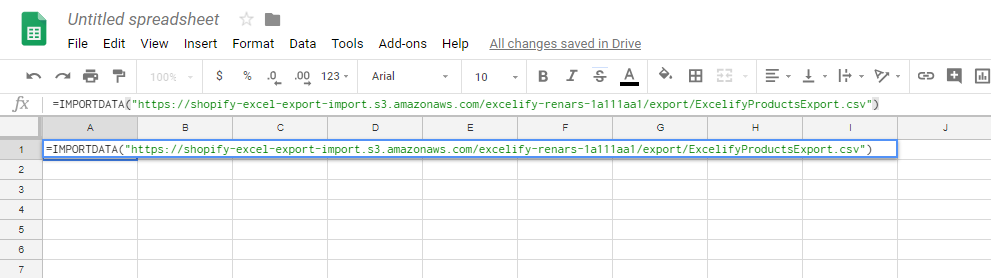 Import data into Google Sheets from Shopify