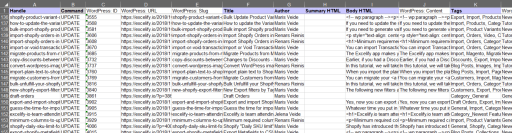 7 - check generated Excel WordPress Shopify Blog Posts Excelify