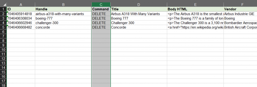 7 - export and delete hide Shopify products without images Matrixify Excel XLSX CSv