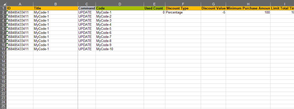 Many codes per discount file