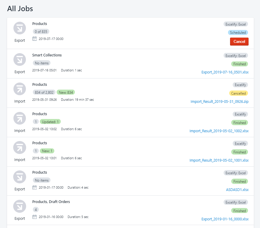 All Jobs page
