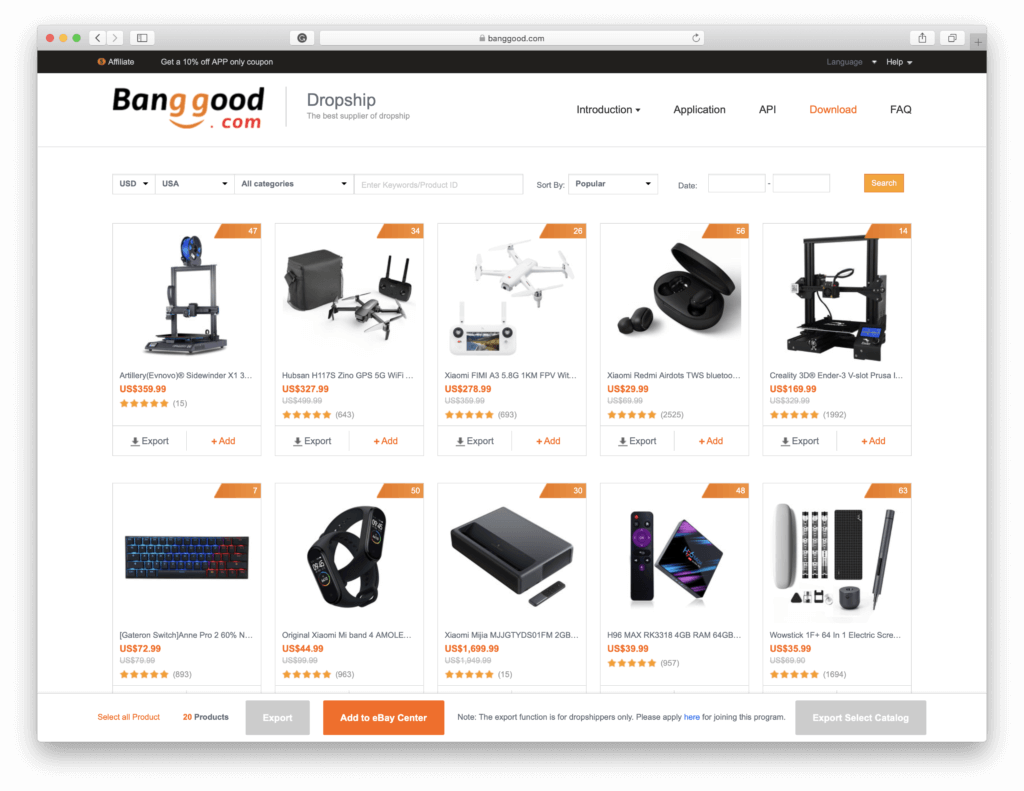 Banggood export Products to CSV