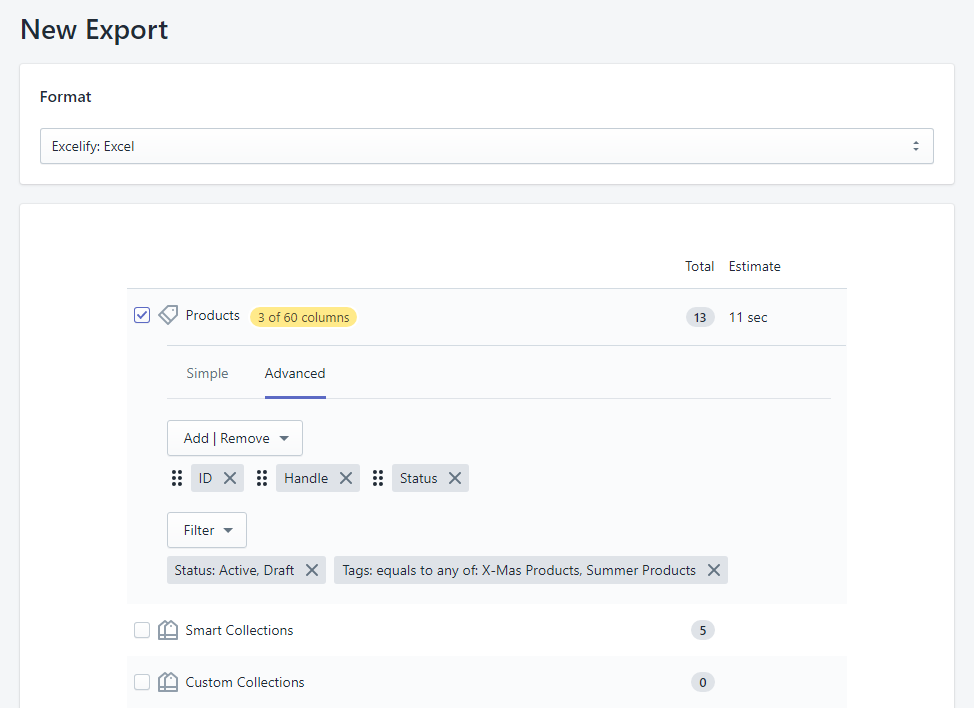 Bulk update Shopify product Status 1.2 - apply filters