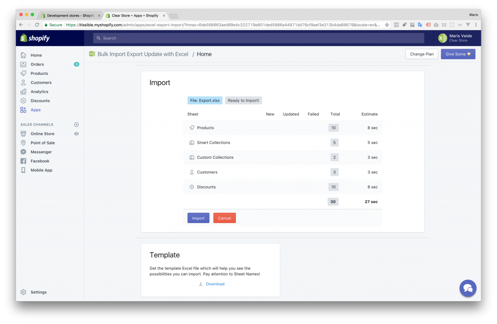 Clone Shopify Store - Step 2 - Import 1