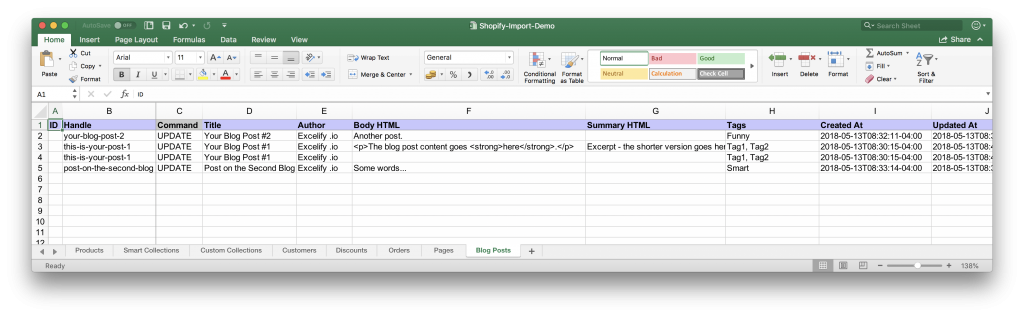 Excel table of the Shopify Blog Posts to import and export