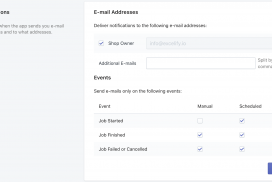 Excelify notifications for Shopify data import-export events