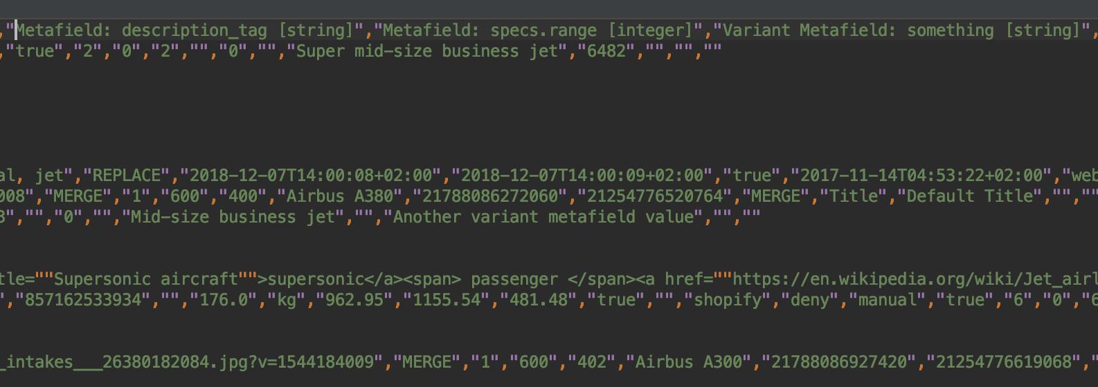Export Shopify Metafields to CSV