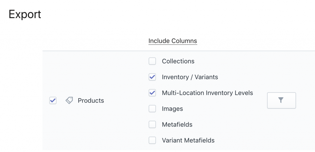 Export Shopify Multi-Location Inventory Levels columns