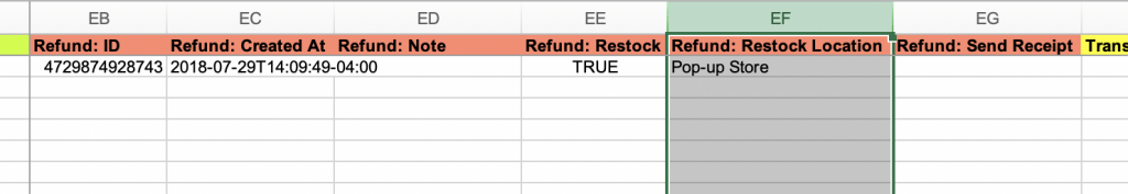 Export Shopify Orders Refund Restock Location