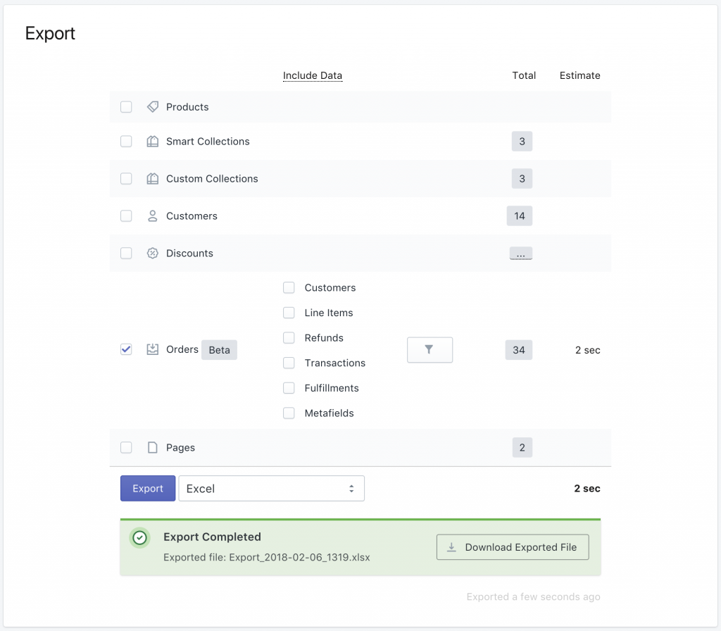 Export Shopify Orders to Excel