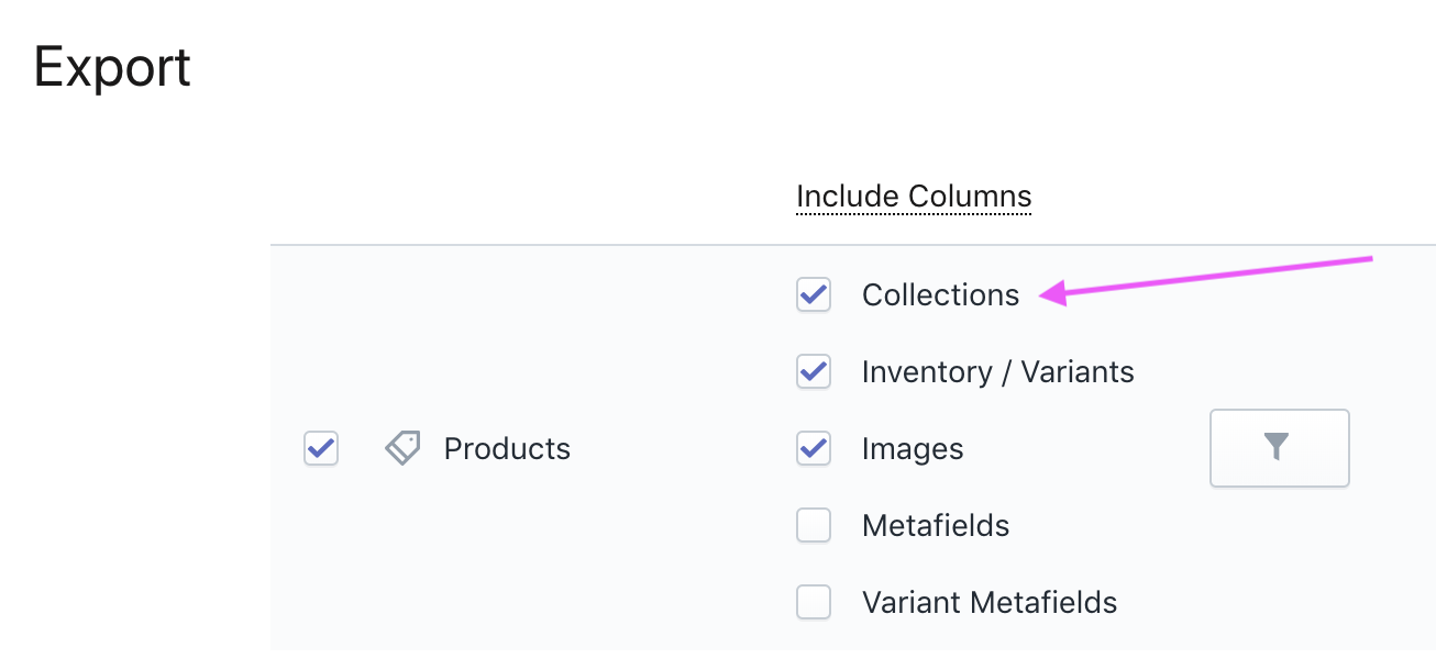 Export Shopify Product Collections
