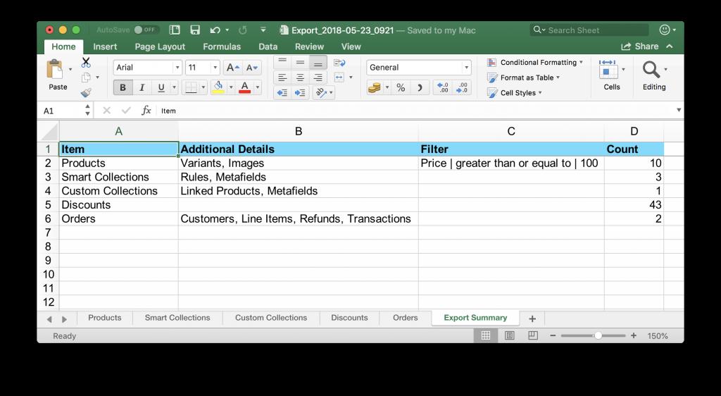 Export Summary sheet